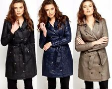 FASHION LADIES DOUBLE BREASTED LONG BELTED QUILTED JACKET COAT SIZE 8 , 10