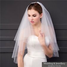 Ivory White 2t Bridal Wedding Veil Tulle with Comb Elbow Cut Edge Tier Satin NEW