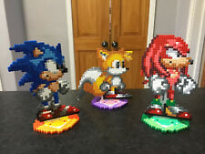 Sonic the Hedgehog/ Knuckles the Echidna/ Tails the Fox- Hama Bead Art Stands