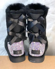 Bling Ugg Bailey Bow, Women's Custom Black Ugg Boots Swarovski Crystal