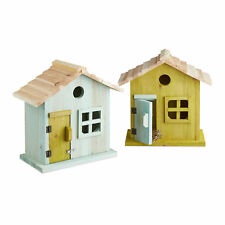 Wooden Nesting Box, Birdhouse, Cottage with Door & Window, Colourful Bird House