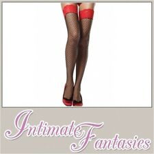 Sexy Black Fishnet Hold Up Stockings Red Lace Top Size M 8 10 12 14 Valentines