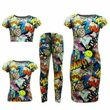 infantil Cómic Grafiti Estampado Leggings Skater Vestido a media pierna