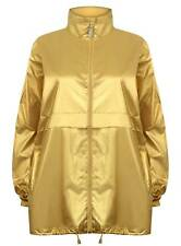 UNISEX METALLIC GOLD WINDBREAKER RAIN JACKET COAT FESTIVAL HOOD LARGE NEW