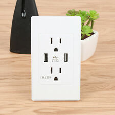 Dual USB Port Wall Socket Charger AC Power Receptacle Outlet Plate Panel OR9