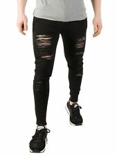 Sik Silk Men's Skinny Distressed Denim Jeans, Black