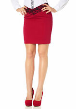 MELROSE DONNA pencilskirt gonna a matita gonna gonna corto pizzo rosso 393314