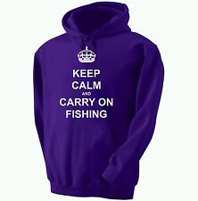 keep calm and Carry On Pesca Sudadera Con Capucha 12 COLORES