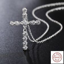 Crystal Cross Pendant Necklace 925 Sterling Silver Chain Women Rosary Jesus Lady