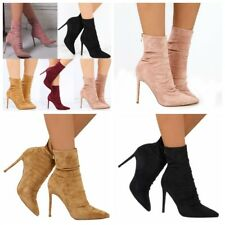 Ladies Womens Ankle Boots Suede Stiletto Heel Pointed Toe Zip Casual Shoes Size