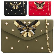 Ladies Faux Leather Butterfly Clutch Bag Pearl Party Bag Beaded Handbag KH2155