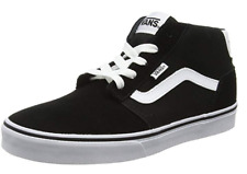 VANS Chapman Mid Stripe Canvas Fashion Skater Shoes Casual Trainers Black White