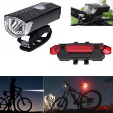 Ricaricabile Cycle Bicicletta Testa Luce Anteriore Posteriore Torcia Led Set USB
