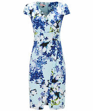 Joe Browns Womens Short Sleeve Wrap Style Tea Dress with Floral Corsage White