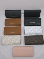 MICHAEL KORS JET SET TRAVEL FLAP PVC OR LEATHER CARRYALL WALLET VARIOUS COLORS