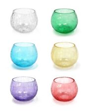 Round Crackle Glass Tea Light Candle Holder Cracked Pattern Effect