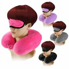 DELUXE COMFY U-SHAPE NECK CUSHION FLEECE MICRO BEADS TRAVEL PLANE CAR SUPPORT