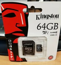 KINGSTON 64GB MICRO SD XC MEMORY CARD CLASS 10 + FULL SIZE SD ADAPTER CLEARANCE