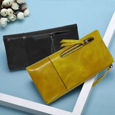 Long Leather Purse Wallets Vintage Handbags Card Holder Money Phone For Women #o