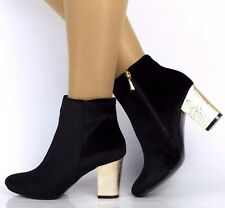 New Womens Black Faux Suede Zipped Gold Cuban Heel Ankle Shoes Boots Sizes 3-8