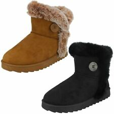 Ladies Spot On Faux Fur Trim/Lined Ankle Boots F4407