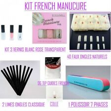 LOT KIT FRENCH MANUCURE VERNIS + FAUX ONGLE + ACCESSOIRES NEUF VER036 / POCHETTE