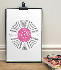 JOHN LEGEND All of Me SONG WORDS PRINT in RECORD style | Romantic gift for her