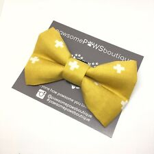 Dog Bow Tie | Handmade Dog Bow | Bow Tie For Dog | Mustard Bow Tie