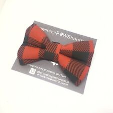Dog Bow Tie | Handmade Dog Bow | Bow Tie For Dog | Red Check Bow Tie