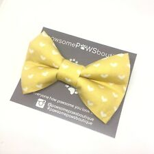 Dog Bow Tie | Handmade Dog Bow | Bow Tie For Dog | Yellow Heart Bow Tie