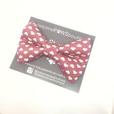 Dog Bow Tie | Handmade Dog Bow | Bow Tie For Dog | Pink Heart Bow Tie