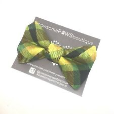 Dog Bow Tie | Handmade Dog Bow | Bow Tie For Dog | Mustard Check Bow Tie
