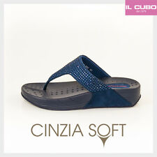 CINZIA SOFT INFRADITO DONNA ANATOMICO COLORE BLU ZEPPA H 4 CM NEW COLLECTION