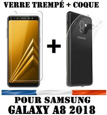 Lot SAMSUNG GALAXY A8 2018 COQUE HOUSSE TPU + FILM VERRE TREMPE ECRAN PROTECTION