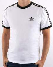 adidas Originals Retro 3 Stripes T Shirt in White - California, trefoil crew tee