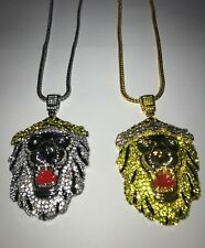 Lion Pendant Chain Iced Out Necklace Shine Shiny Bling Bling Jewel Icy