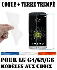 POUR LG G4/G5/G6 HOUSSE COQUE SILICONE + FILM PROTECTION  VERRE TREMPE