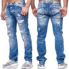 PANTALONI DENIM JEANS UOMO JEANS DESTROYED regular fit blu usato REDBRIDGE