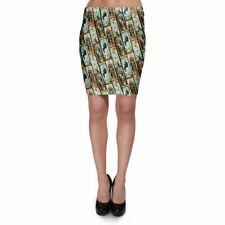 Haunted Mansion Stretch Paintings Bodycon Skirt XS-3XL Stretch Short Skirt
