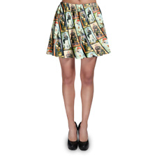 Haunted Mansion Stretch Paintings Skater Skirt XS-3XL Stretch Flared Short Skirt