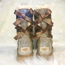 Bling Ugg Bailey Bow, Women's Custom Chestnut Ugg Boots Swarovski Crystal
