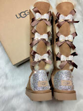 Bling Ugg Bailey Bow 2 Tall Women's Custom Chestnut Ugg Boots Swarovski Crystal