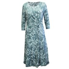 New EASTEX Green Floral Jersey Dress Ruching Lined 3/4 Sleeves 12 14
