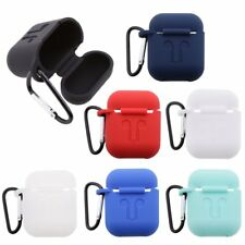 Smooth Silicon Charging Case Cover For Apple AirPods With Keychain Clip