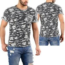 Redbridge by shelly & Baxx UOMINI Strick- T-Shirt Mimetico Army Militare Blu