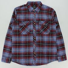 Brixton Bowery L/S Flannel Long Sleeve Smart Shirt  – Navy Plaid in Size S