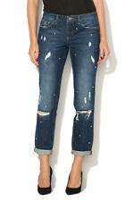jeans donna LIU JO blu denim con borchie bottom push up strappi strappati tasche
