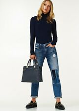 jeans donna LIU JO strappati blu denim Bottom push Up paillettes return strappi