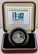 2000 Public Libraries 150 years Silver Proof PIEDFORT 50p coin, COA, Box, Outer