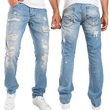 PANTALONI DENIM JEANS UOMO JEANS DESTROYED regular fit celeste usato REDBRIDGE